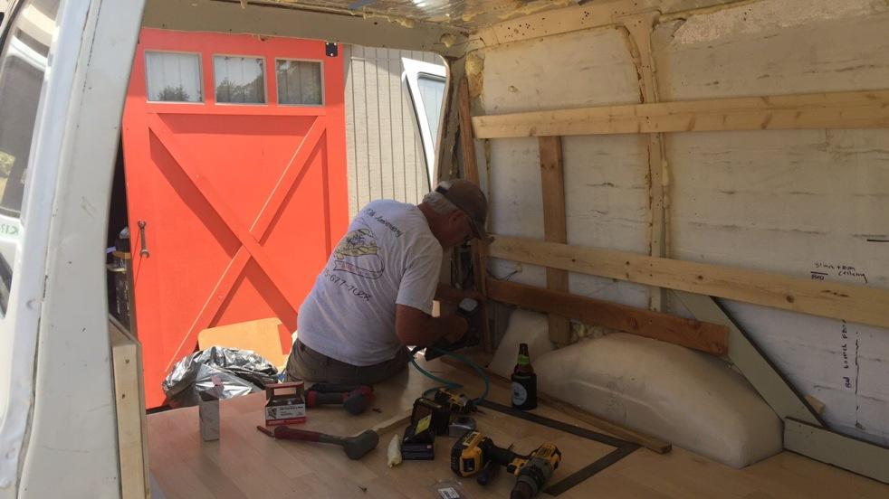 wooden walls in van