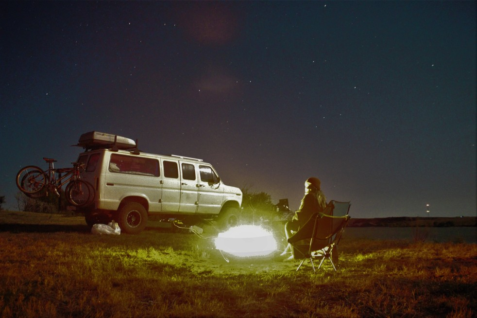 Van at night